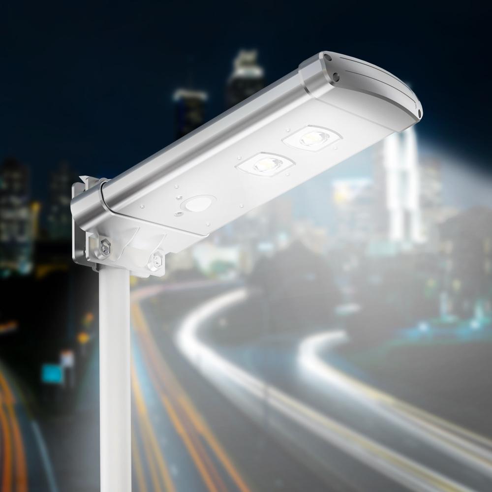 Lampione solare Led 1000 Lumen sensore di movimento e crepuscolare Voltus