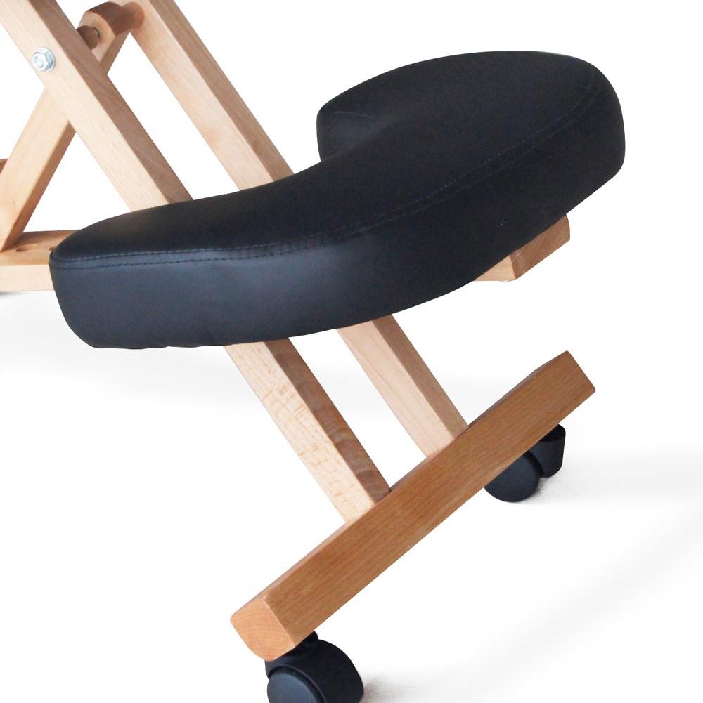 Sedia-legno-ortopedica-sgabello-svedese-ufficio-ergonomica-schiena-BALANCEWOOD miniatura 25