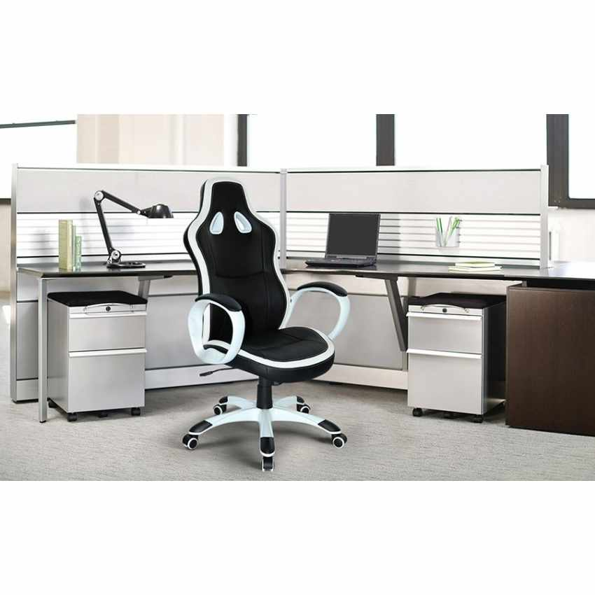Ergonomic Design Racing Office Chair for Working Gaming in Faux Leather SUPER SPORT - immagine