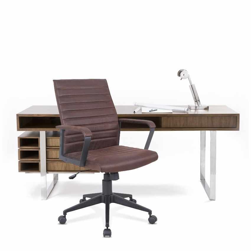 Poltrona ufficio elegante sedia ecopelle ergonomica LINEAR - offert