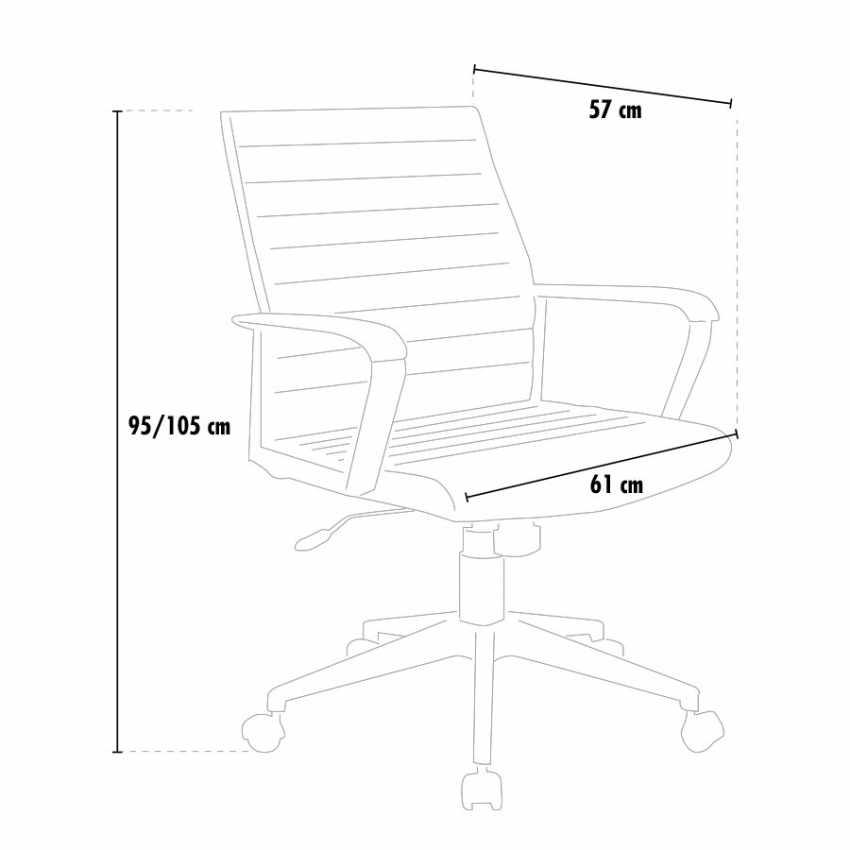 Poltrona ufficio elegante sedia ecopelle ergonomica LINEAR - indoor