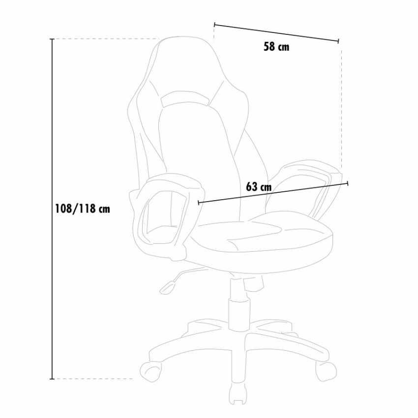 Silla de oficina racing deportivo videojuegos cuero artificial ergonómica PRO - best