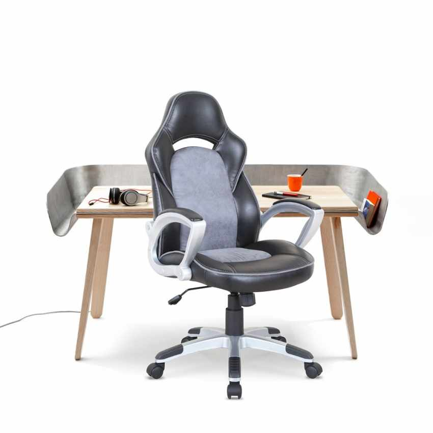 Racing Office Chair in Faux Leather for Working Gaming Ergonomic EVOLUTION - offert