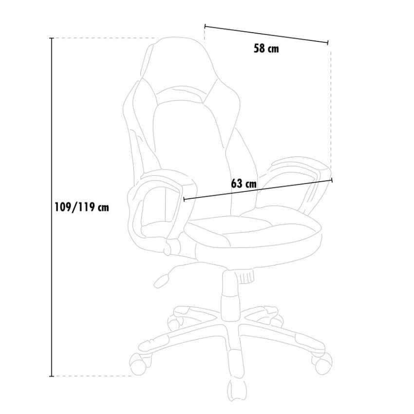 Silla de oficina racing deportivo videojuegos cuero artificial ergonómica EVOLUTION - details