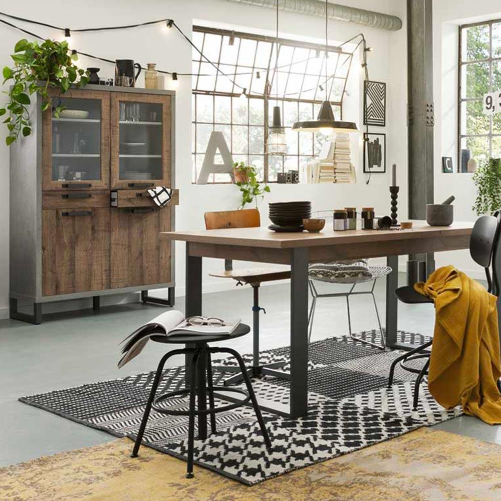 Portland Credenza Vetrinetta In Legno Design Moderno Industriale