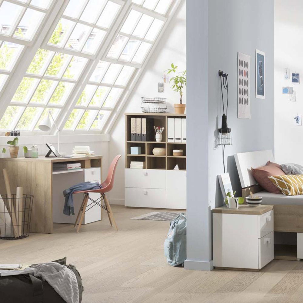 Libreria moderna legno e bianco laccato con vani aperti e cassetti scorrevoli per soggiorno e ufficio Aurora