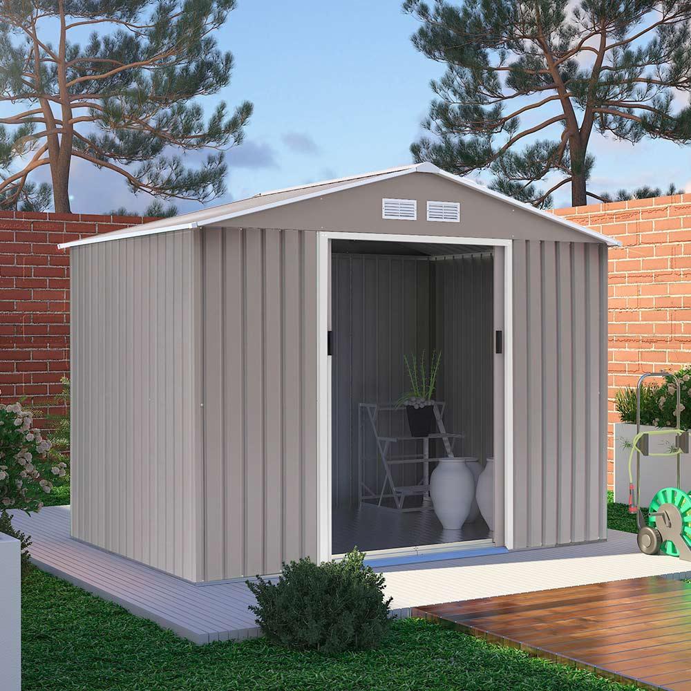 Box in lamiera grigio solido resistente per giardino riponi attrezzi Ortisei 277x191x202cm - Rabatt