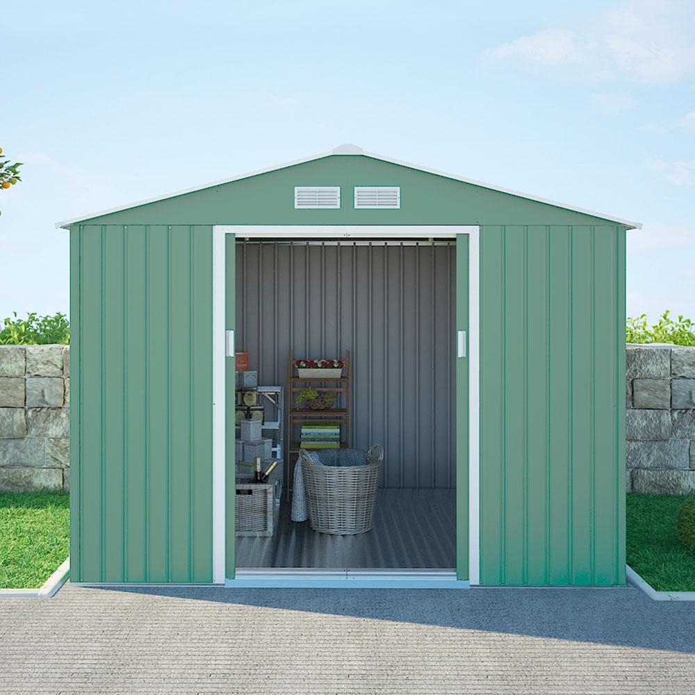 Casetta in lamiera zincata verde per giardino solida resistente attrezzi Ortisei NATURE 277x191x202cm - Interieur