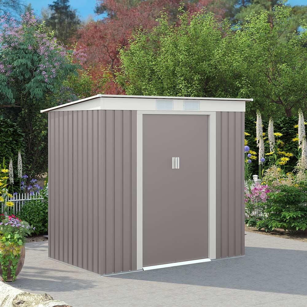Box lamiera zincata resistente preverniciata grigio casetta giardino Alps 201x121x176cm - Möbel