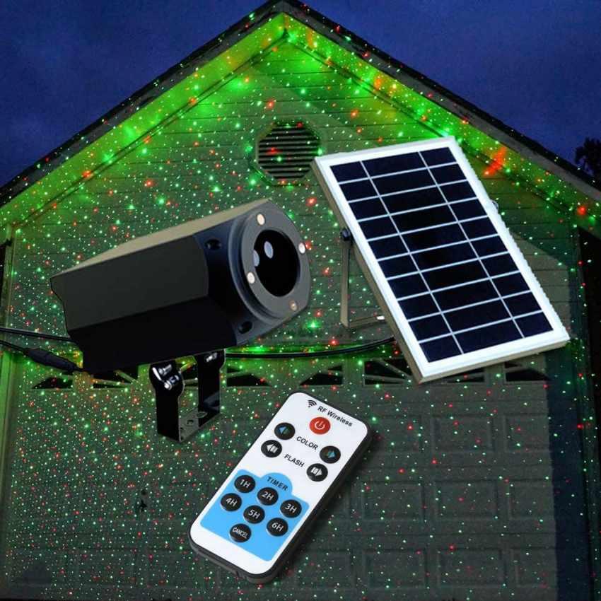 Panneau Solaire Projecteur Télécommande Led Laser Christmas Avec Façade Et JTFK1lc3