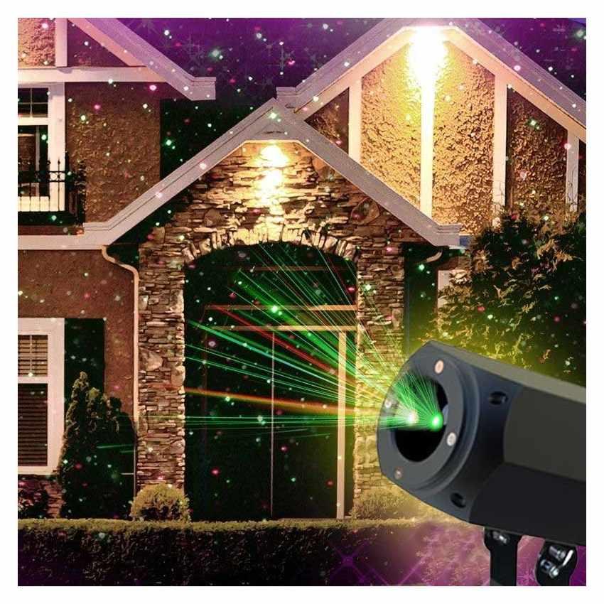 Projecteur LED Laser façade CHRISTMAS avec panneau solaire et télécommande - image