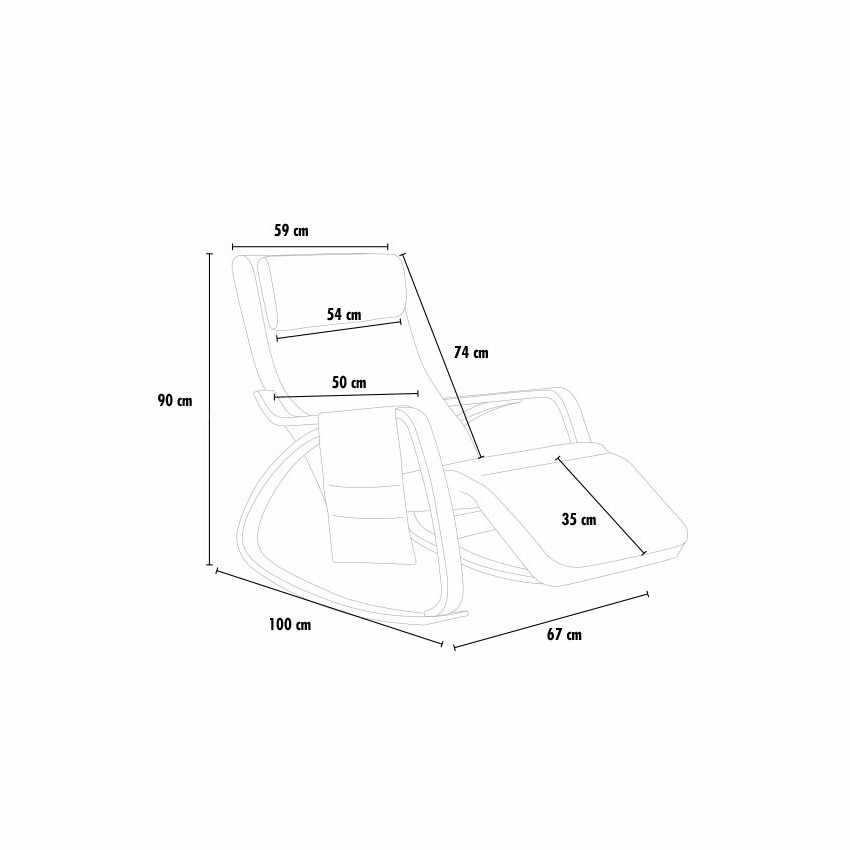 Sedia a Dondolo regolabile in legno RELAX ergonomica per Casa e Salotto - forniture