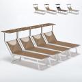 4 Lettini spiaggia mare prendisole in alluminio Santorini Limited Edition