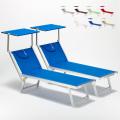 2 Lettini spiaggia mare prendisole professionali in alluminio Santorini