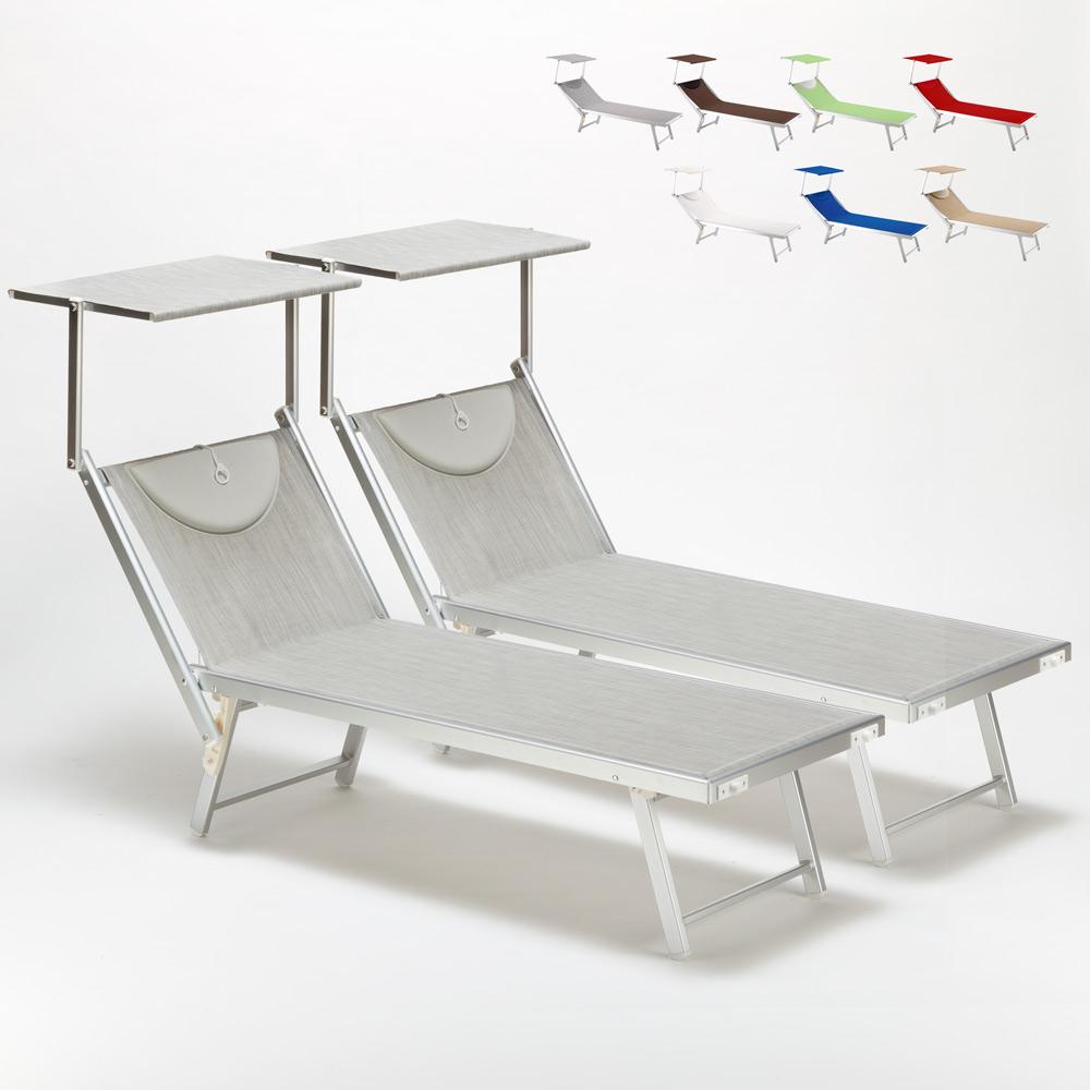 2 Lettini spiaggia mare prendisole professionali in alluminio Santorini - promo