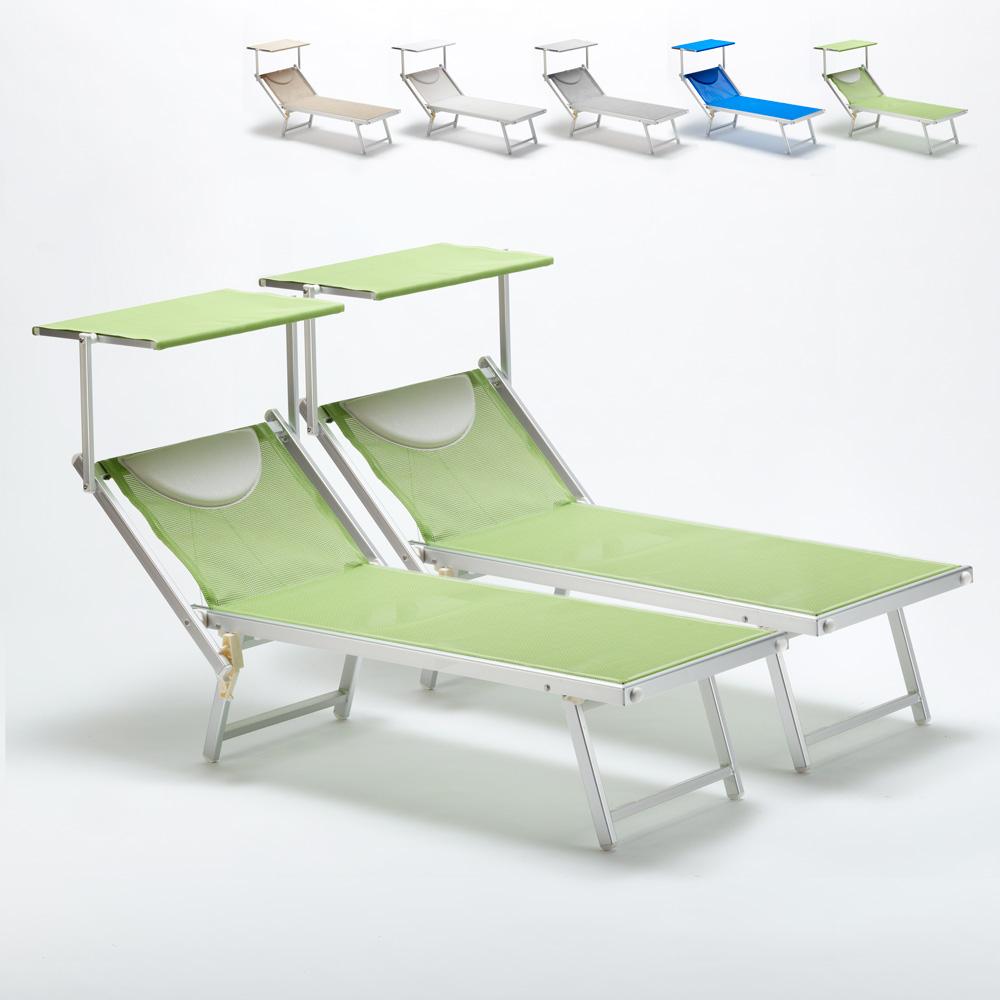 2 Lettini spiaggia mare prendisole professionali in alluminio Italia - Preis