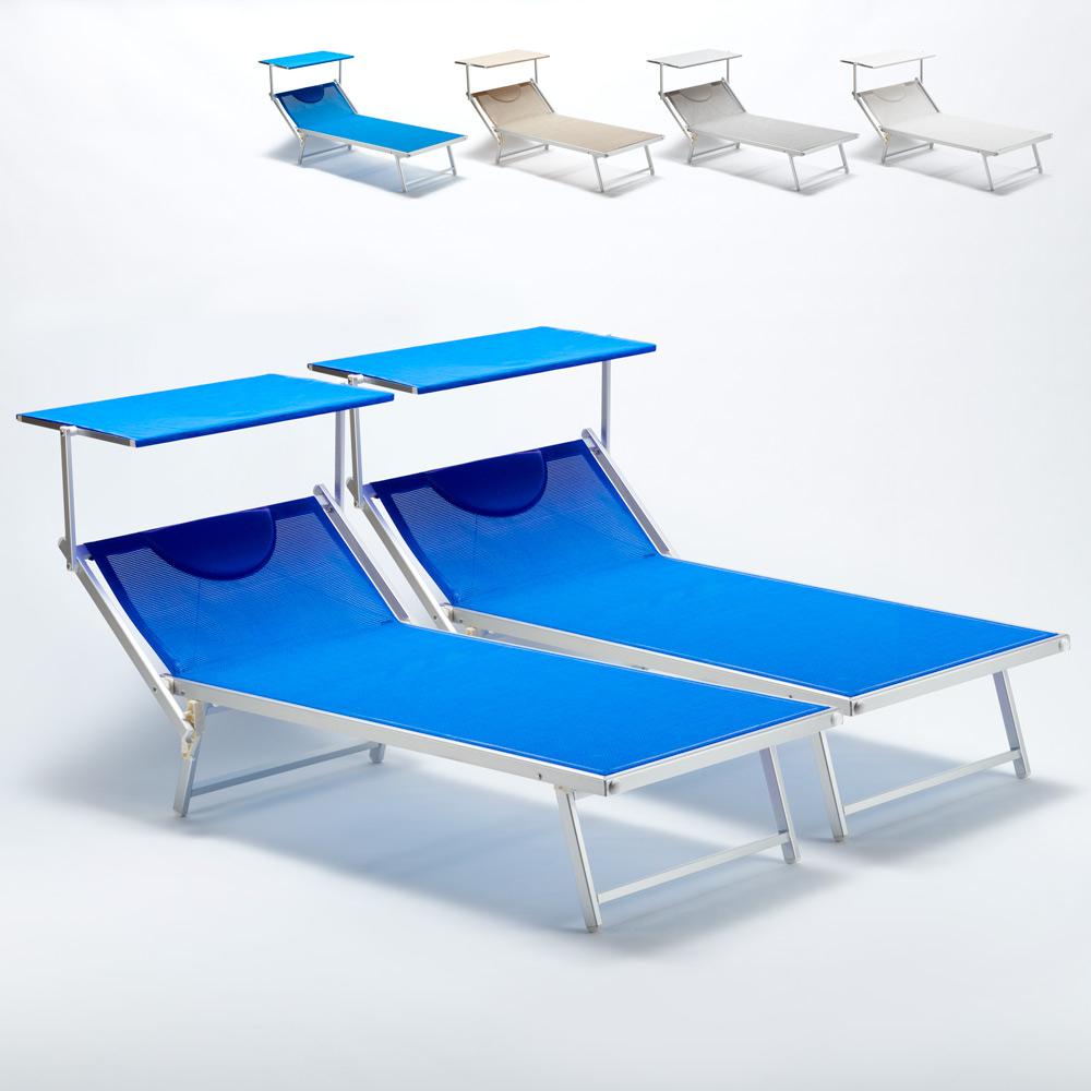 2 Lettini spiaggia mare professionali in alluminio Xl Grande Italia - Möbel
