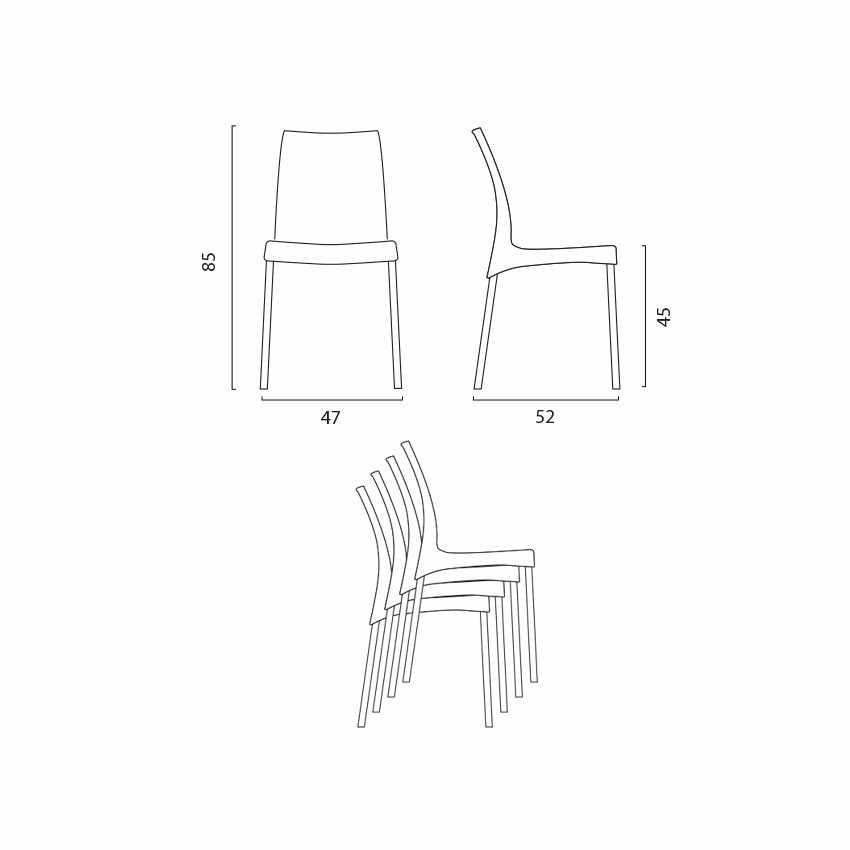 Sedia per bar e cucina in polipropilene con gambe in acciaio impilabile BOULEVARD Grand Soleil - interno