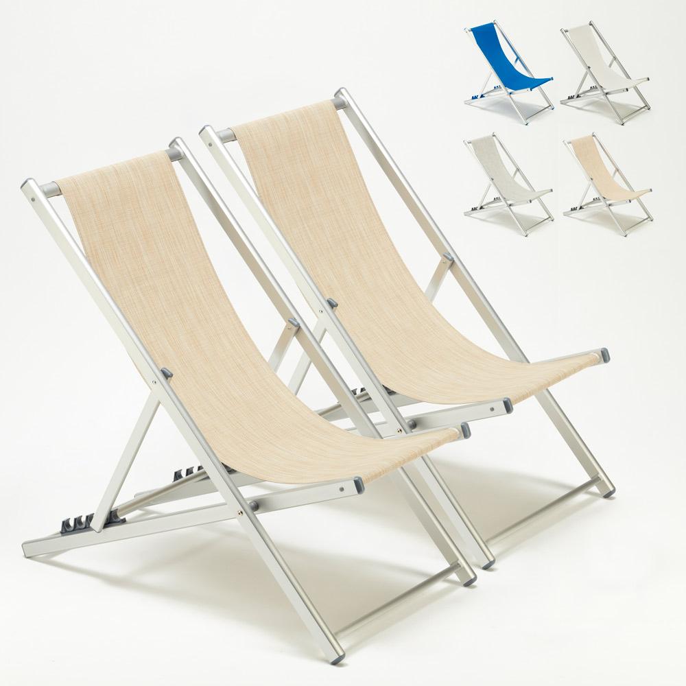 2 Sedie sdraio mare spiaggia e piscina alluminio Riccione
