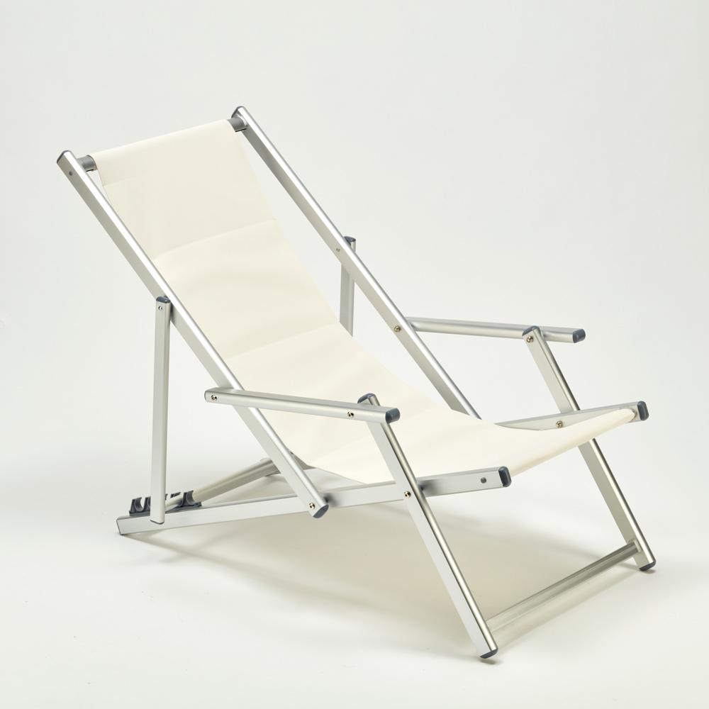 miniatura 24 - Sedia sdraio mare spiaggia richiudibile braccioli alluminio piscina RICCIONE LUX