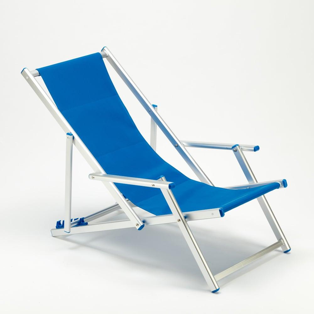 miniatura 40 - Sedia sdraio mare spiaggia richiudibile braccioli alluminio piscina RICCIONE LUX