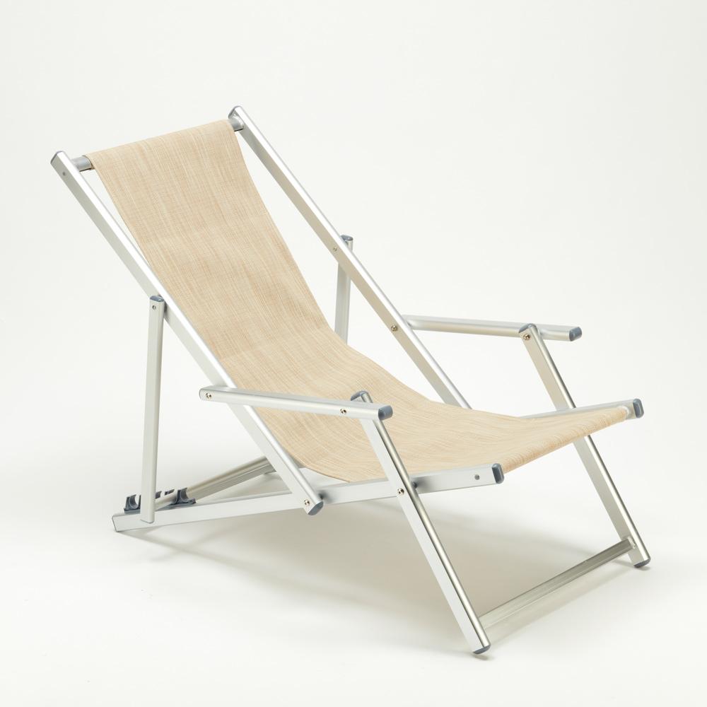 miniatura 32 - Sedia sdraio mare spiaggia richiudibile braccioli alluminio piscina RICCIONE LUX