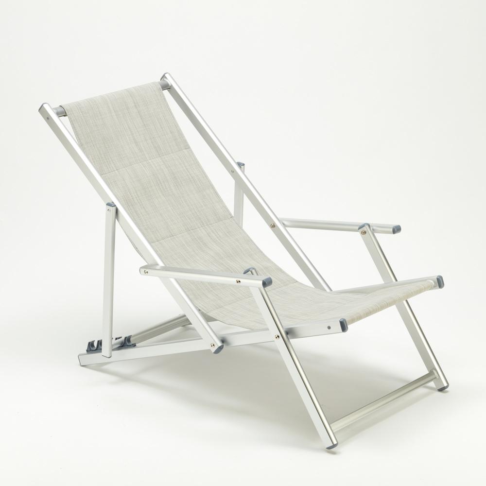 miniatura 5 - Sedia sdraio mare spiaggia richiudibile braccioli alluminio piscina RICCIONE LUX