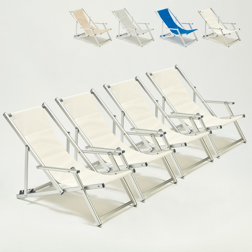 4 Sedie sdraio spiaggia giardino mare con braccioli in alluminio Riccione Lux