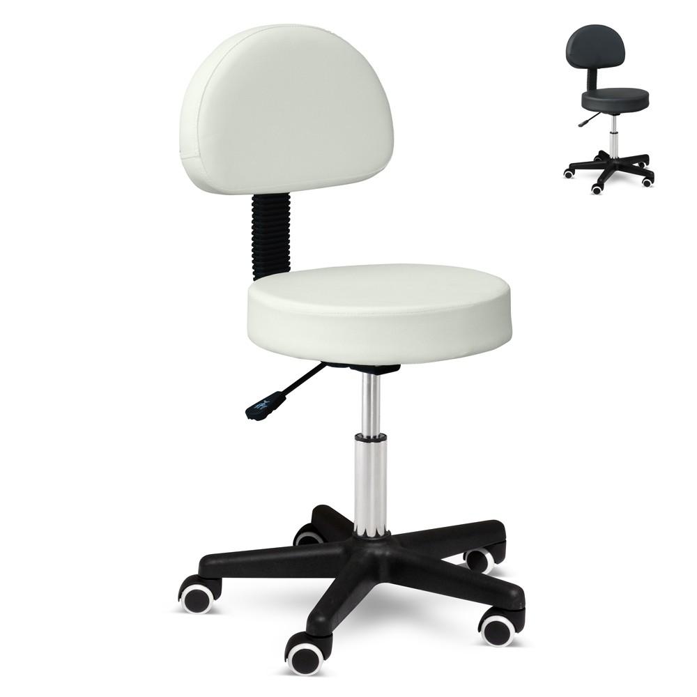 LM100LUX - Sgabello regolabile ruote schienale per tatuatore estetista ufficio ecopelle Lux -