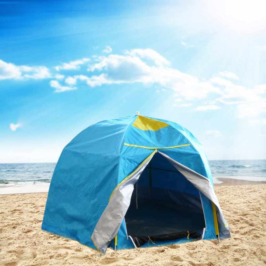 Tente De Plage 2 Sièges Abri Solaire Camping Protection Uv Ant Ivent