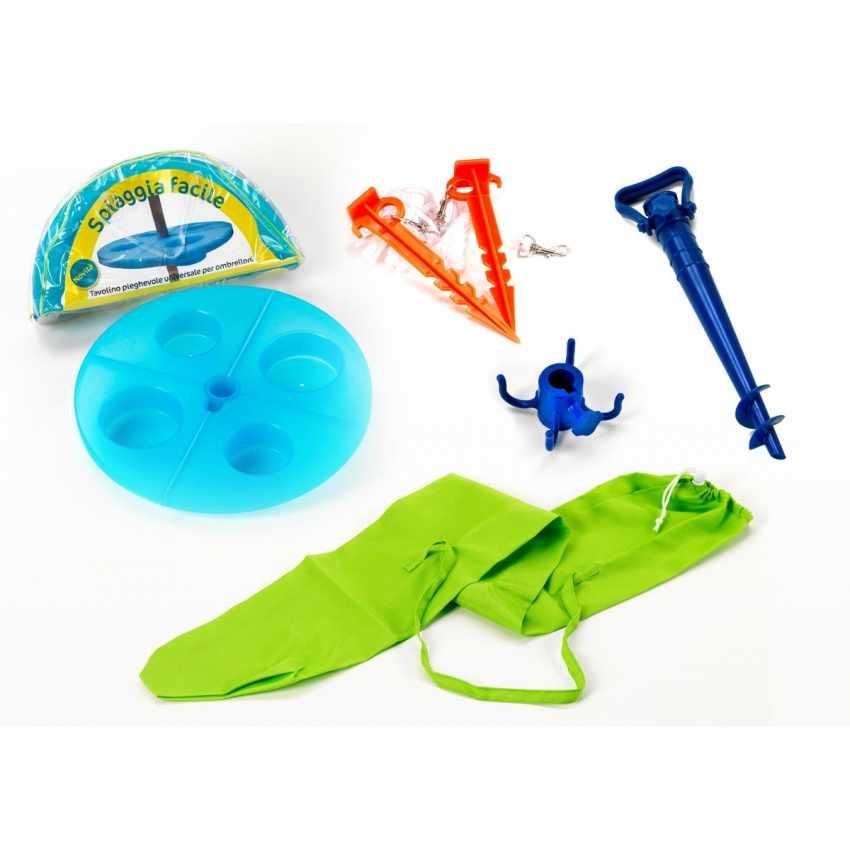 Kit Accessoires De Plage Sac Parasol Table Piquets Spiaggiafacile