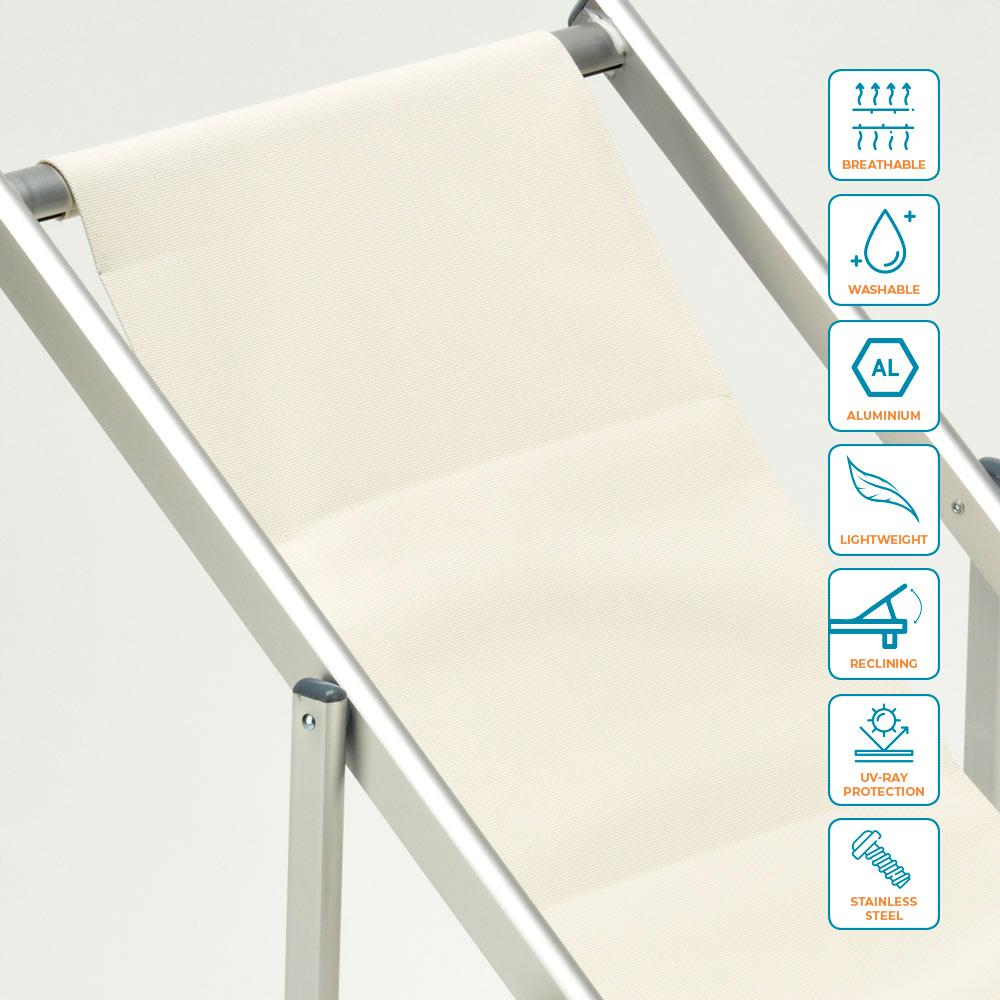 miniatura 25 - Sedia sdraio mare spiaggia richiudibile braccioli alluminio piscina RICCIONE LUX