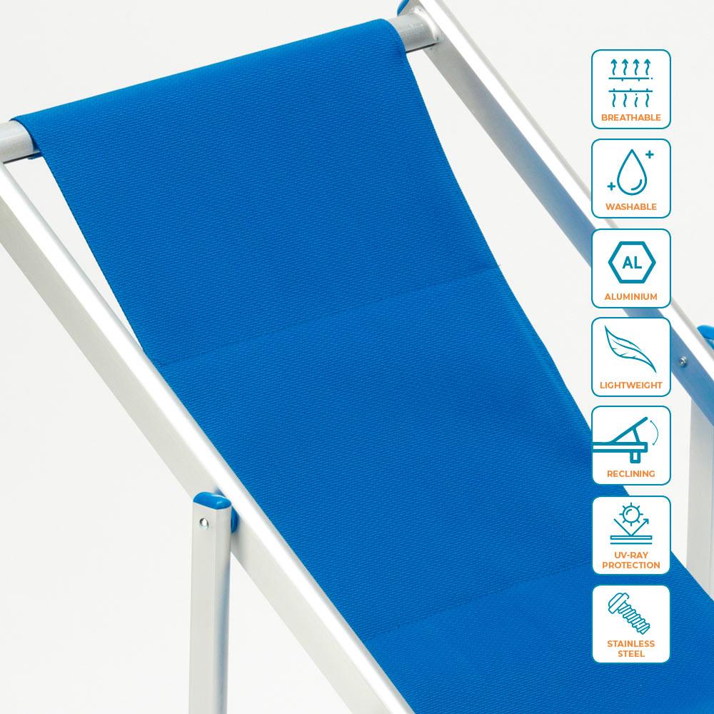miniatura 41 - Sedia sdraio mare spiaggia richiudibile braccioli alluminio piscina RICCIONE LUX