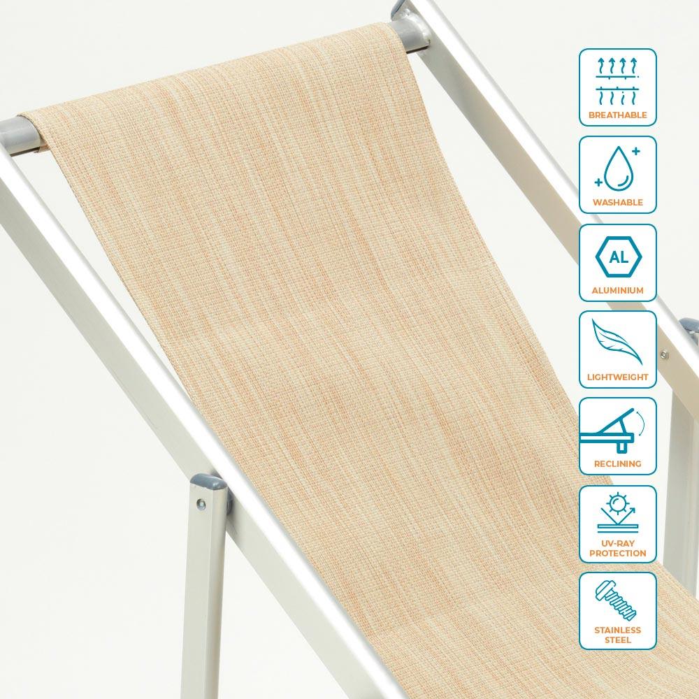 miniatura 33 - Sedia sdraio mare spiaggia richiudibile braccioli alluminio piscina RICCIONE LUX