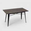 Tavolo da pranzo 120x60 design tolix industriale metallo legno rettangolare Caupona