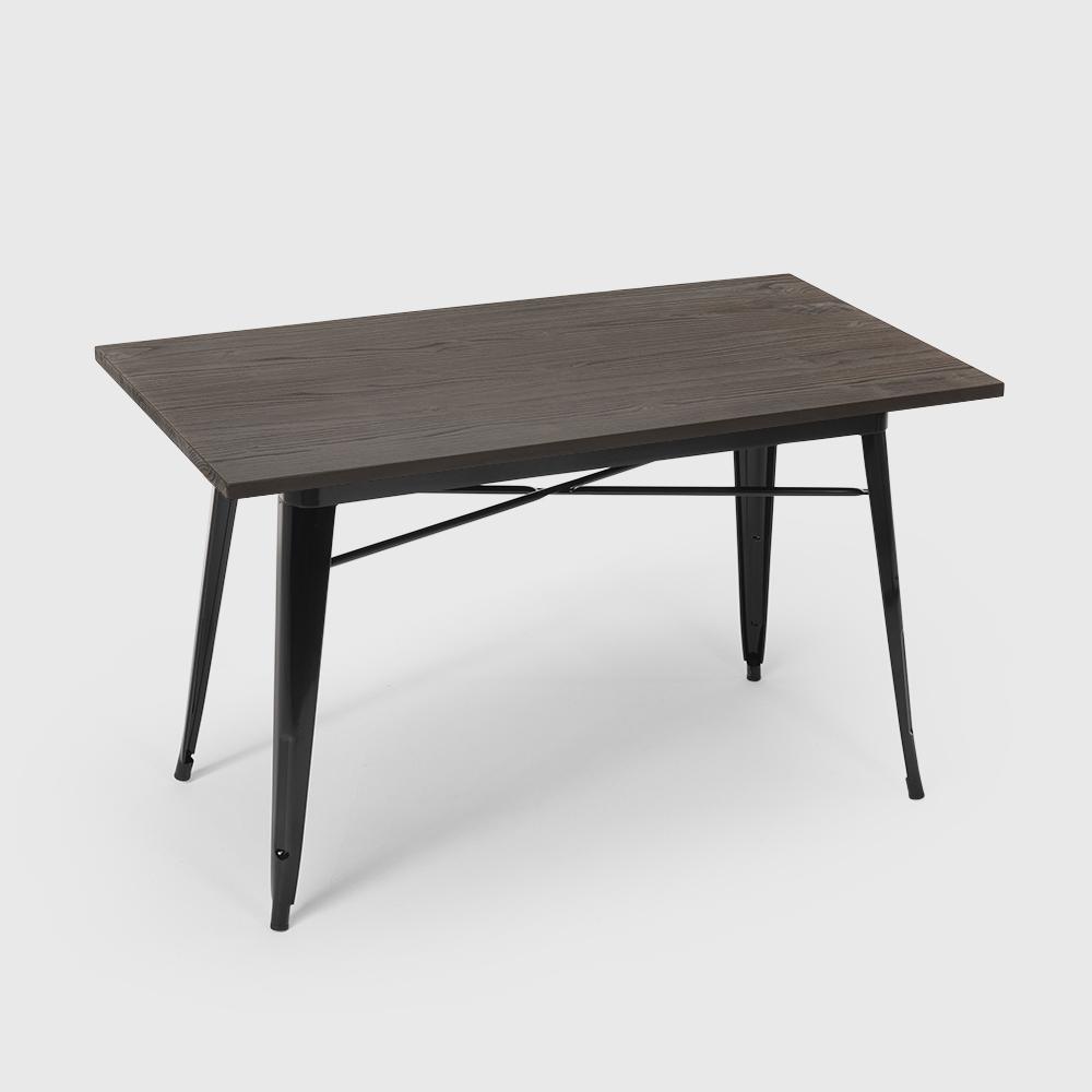 Tavolo da pranzo 120x60 industriale metallo legno rettangolare CAUPONA - details