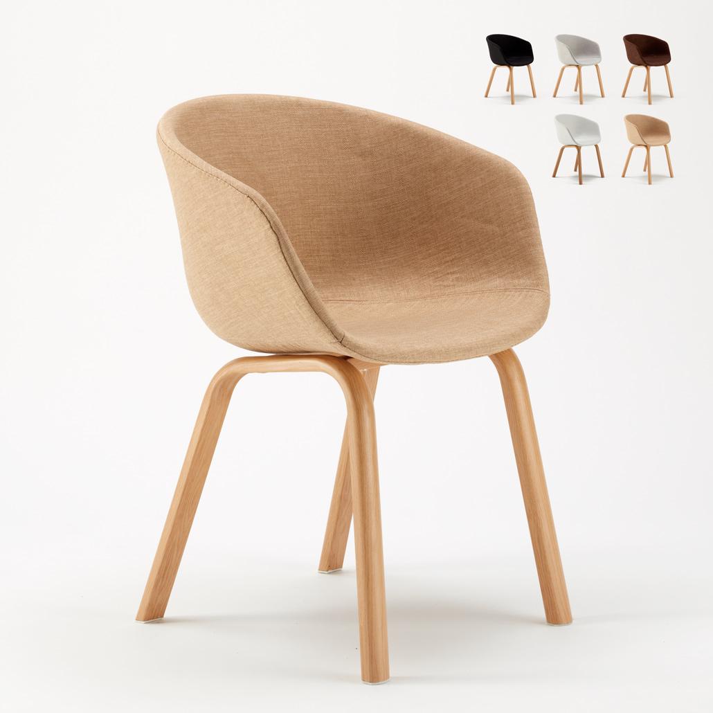 Sedia in Metallo Legno Tessuto per Cucina Bar Scandinavo KOMODA - new