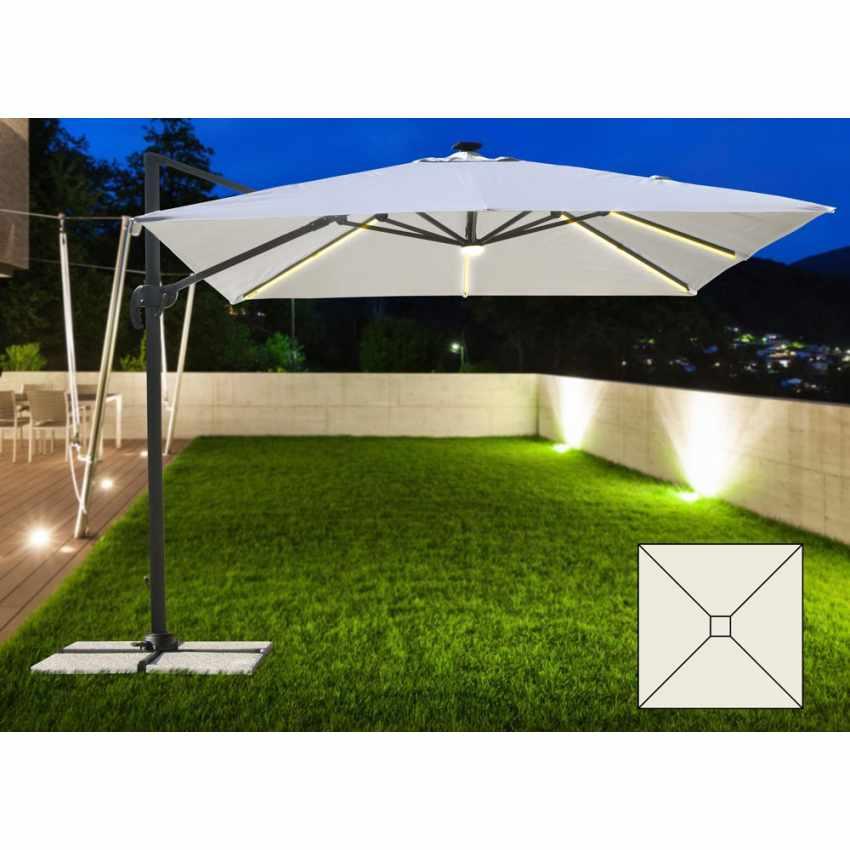Illuminazione Per Ombrelloni Da Giardino.Ombrellone Giardino Con Luce Solare Led Quadrato 3x3 Braccio Alluminio Paradise