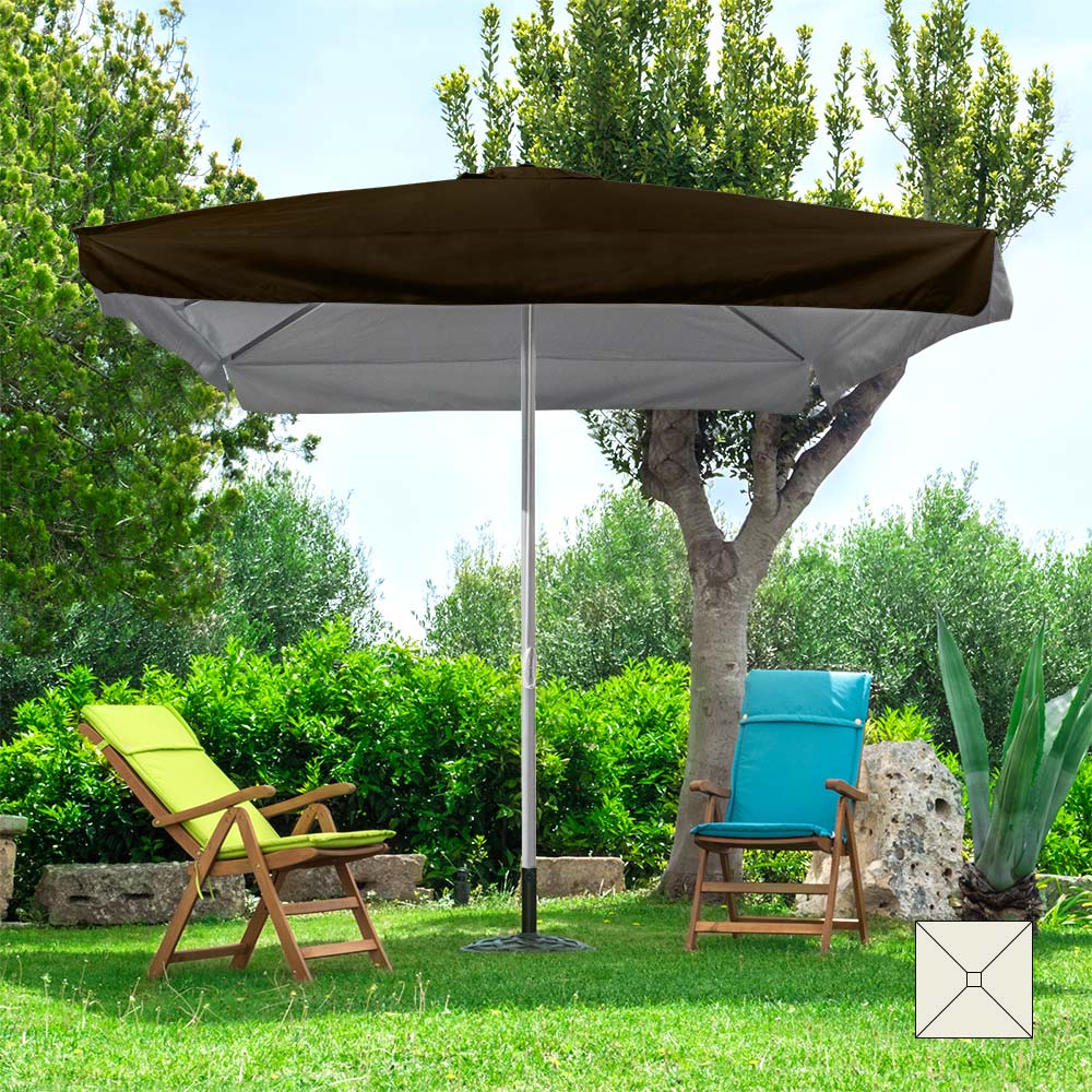 Ombrellone giardino in alluminio 3x3 quadrato palo centrale Marte Brown - Preis