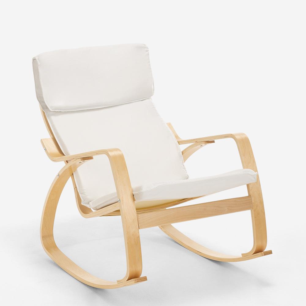 Poltrona sedia a dondolo in legno design scandinavo ...