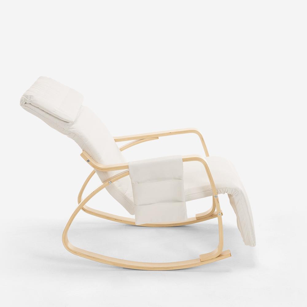 Poltrona sedia a dondolo in legno design nordico ...