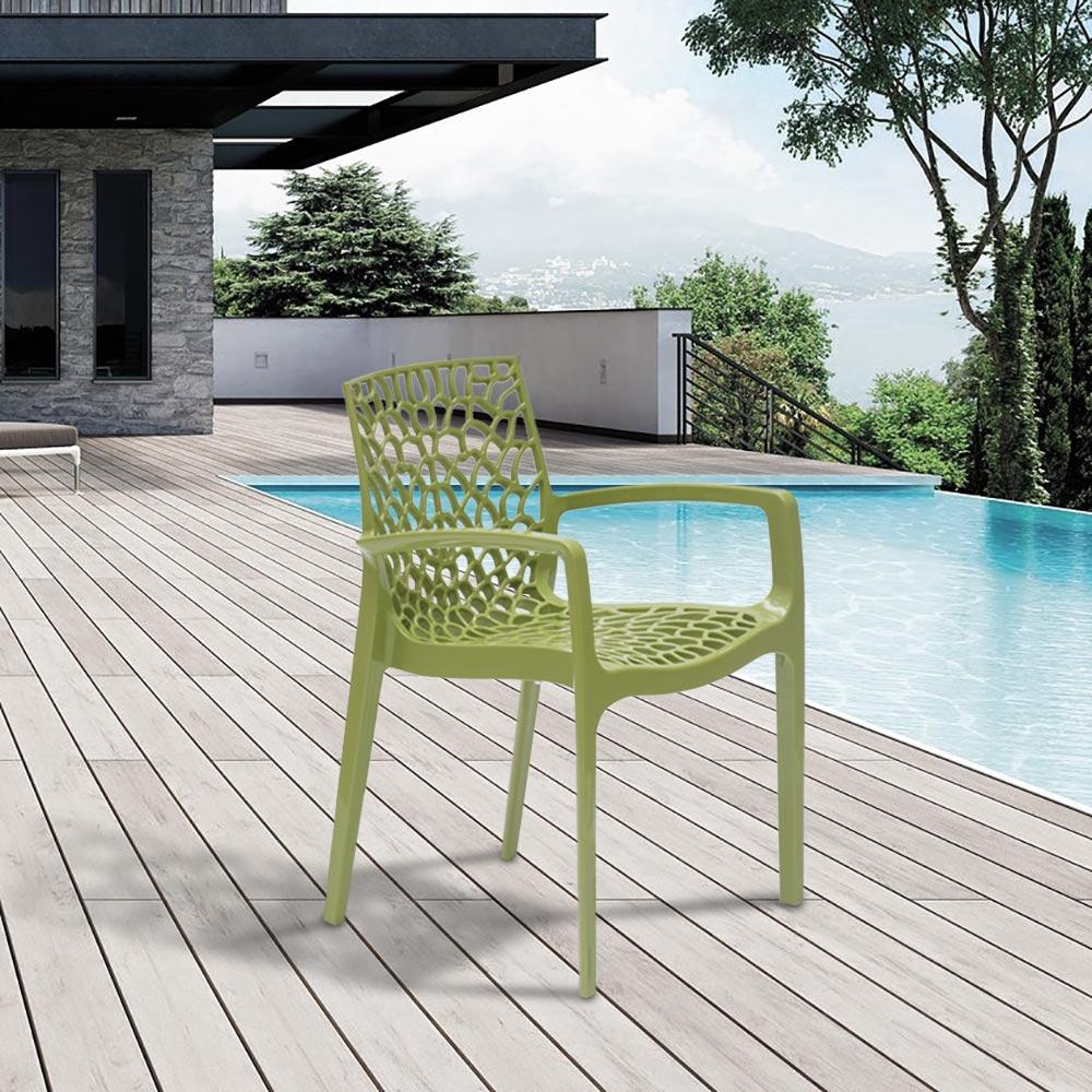 miniatuur 35 - Polypropyleen stoelen armleuningen tuin cafès Grand Soleil Gruvyer Arm