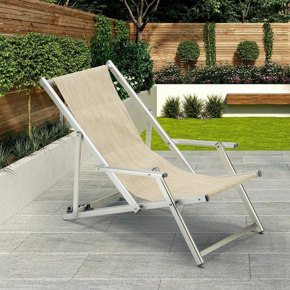 miniatura 28 - Sedia sdraio mare spiaggia richiudibile braccioli alluminio piscina RICCIONE LUX