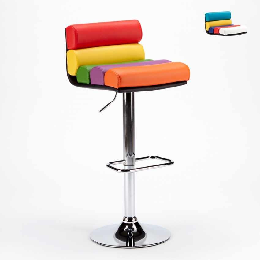 Sgabello per Sala Giochi Bar Design Moderno e Colorato in Similpelle LONG ISLAND - scontato