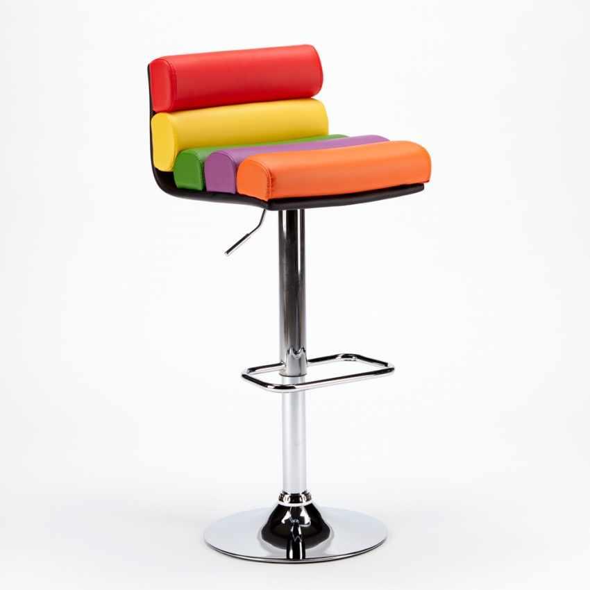 Sgabello per Sala Giochi Bar Design Moderno e Colorato in Similpelle LONG ISLAND - arredamento