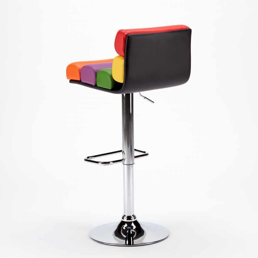 Sgabello per Sala Giochi Bar Design Moderno e Colorato in Similpelle LONG ISLAND - vendita