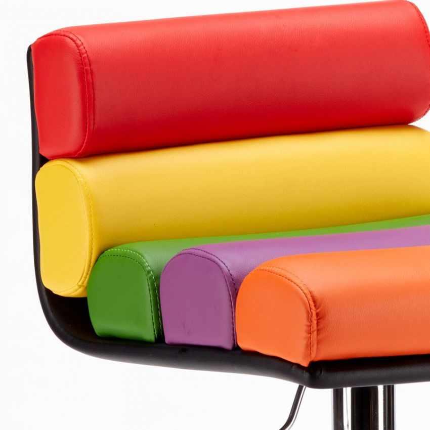 Sgabello per Sala Giochi Bar Design Moderno e Colorato in Similpelle LONG ISLAND - foto