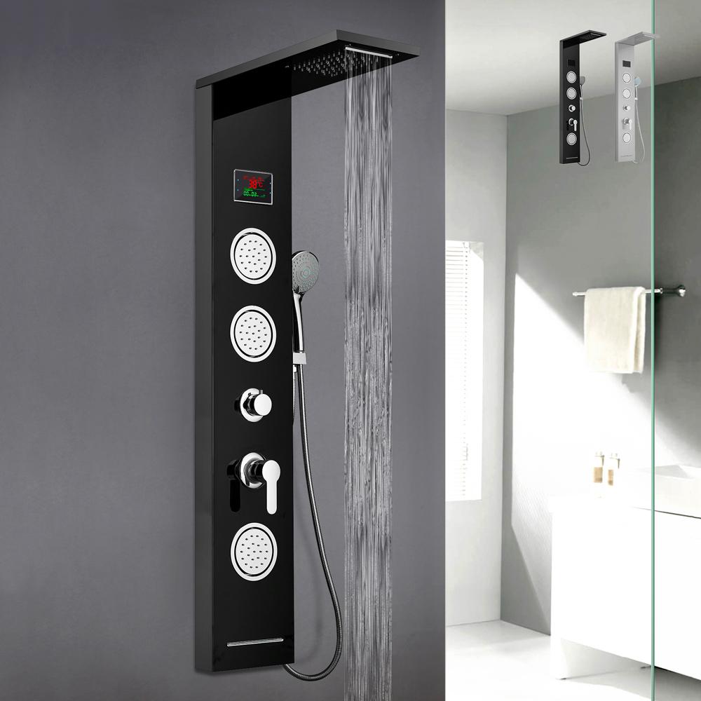 Pannello colonna doccia in acciaio con miscelatore cascata idromassaggio display LED Abano