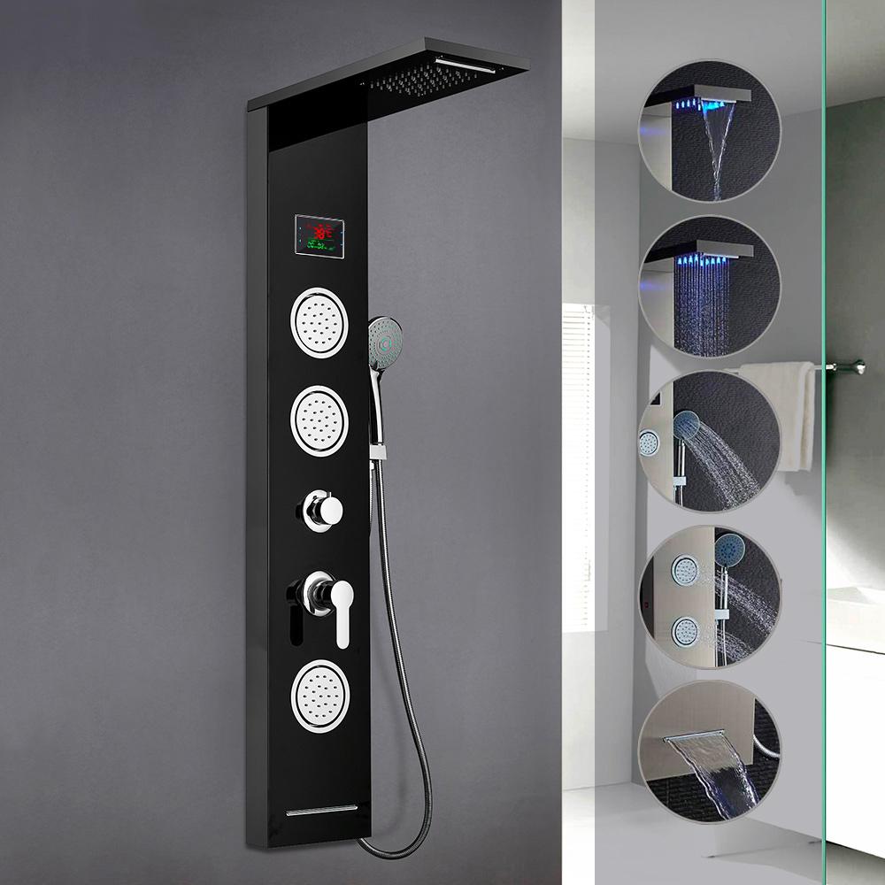 Pannello Doccia Con Miscelatore Cascata Idromassaggio Display LED Abano