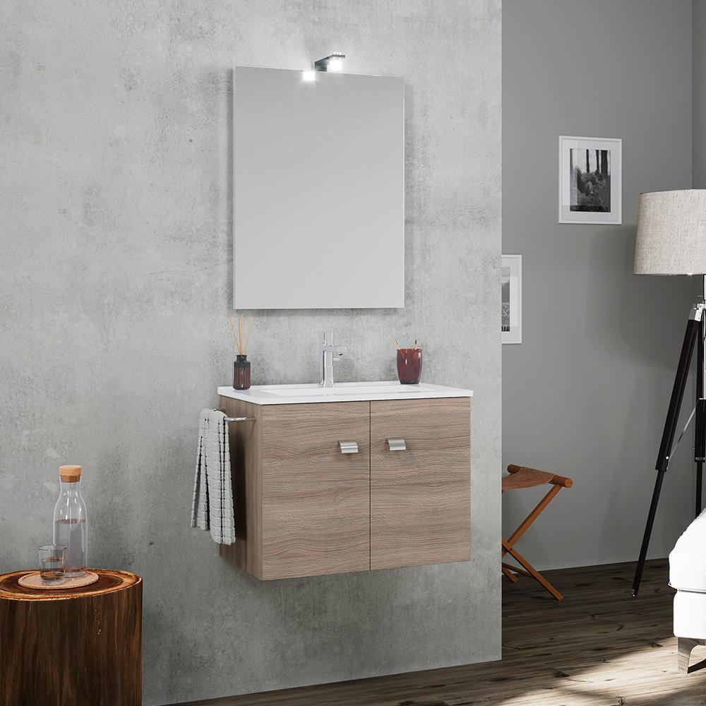 Mobile bagno base sospesa 2 ante lavabo ceramica porta asciugamani specchio lampada LED Vanern Oak